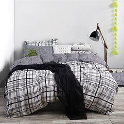 Uozzi Bedding 3 Piece Duvet Cover Set with Zipper Closure,Wh