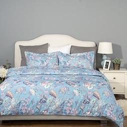 Bedsure 3 Piece Duvet Cover Set with Zipper Closure-Printed