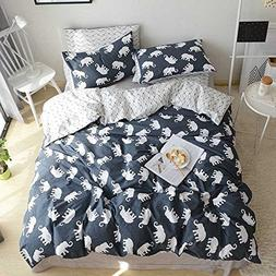 HIGHBUY Elephant Print Bedding Duvet Cover Set Queen 100% Co
