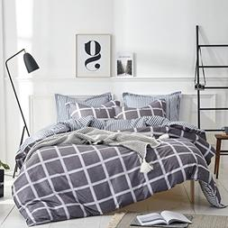 Uozzi Bedding 3 Piece Duvet Cover Set Queen, Reversible Prin
