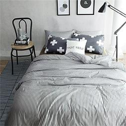 VM VOUGEMARKET 3 Piece Duvet Cover Set Queen,Striped Duvet C
