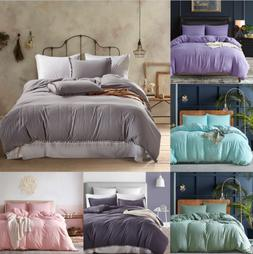 Duvet Quilt Cover Bedding Set Solid Color Twin Queen King Si