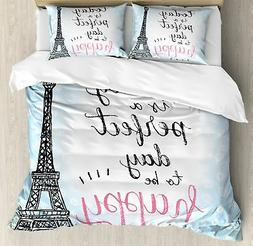 Eiffel Tower Decor Duvet Cover Set by Ambesonne, Perfect Day