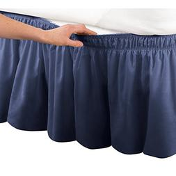Wrap Around Bed Skirt, Easy Fit Elastic Dust Ruffle, Navy, Q