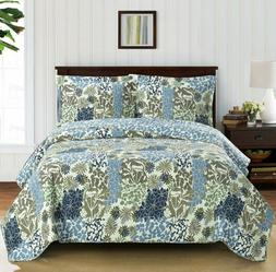 Elena Reversible Quilted Coverlets 3 Piece Oversized Printed