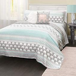 Lush Decor Elephant Stripe Quilt 5Pc Set - Full/Queen - Turq