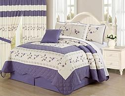 All American Collection New 6pc Embroided Floral Bedspread/Q