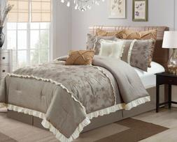 Chezmoi Collection Embroidered Roses Faux Linen Taupe Beddin