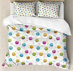 Emoji Duvet Cover Set Twin Queen King Sizes with Pillow Sham