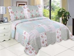 English Roses Bedding Quilt Bedspread Coverlet 3 Piece Rever