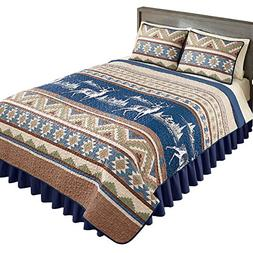 Collections Etc Etched Deer Aztec Western Cabin Quilt, Navy