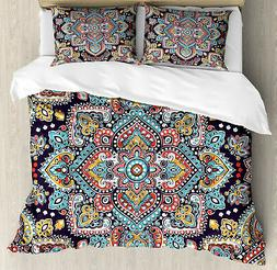 Ethnic Duvet Cover Set with Pillow Shams Ethnic Vintage Boho