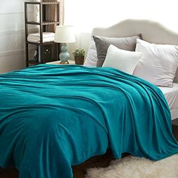 Bedsure Flannel Fleece Luxury Blanket Teal Queen Size Lightw