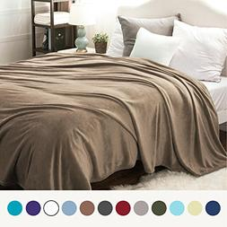 Bedsure Flannel Fleece Luxury Blanket Camel Queen Size Light