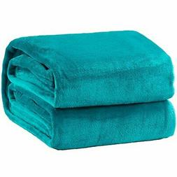 Bedsure Fleece Blanket Queen Size Teal Lightweight Super Sof