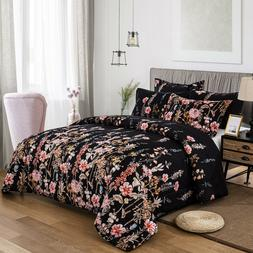 Floral Premium Down Alternative Black Soft Comforter Set Pil