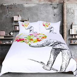 Sleepwish 3PCS Floral Elephant Duvet Cover Set Black and Whi