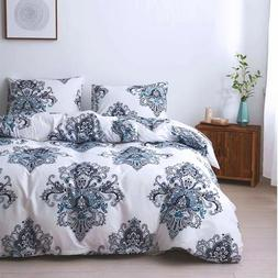 Floral White Quilt Cover Duvet Cover Set Queen King Size Bed