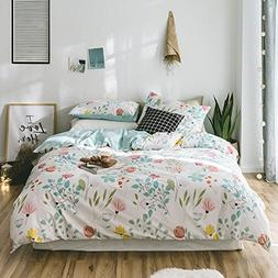 VClife Flower Queen Bedding Sets Girls Cotton Floral Plant P