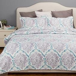 Flower Quilt Paisley Purple Taupe&Indigo Coverlet Full/Queen