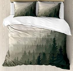 Ambesonne Forest Duvet Cover Set Queen Size, Northern Parts