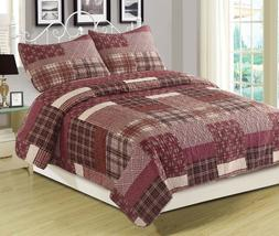 Twin Full/Queen or King Quilt Red Plaid Patchwork Bedspread