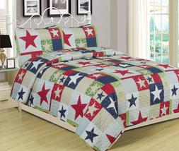 Full/Queen or King Rustic Star Quilt Set Country Primitive B