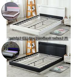 Full/ Queen Size Bed Frame Bedroom Platform w/ LED Light Hea