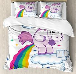 Ambesonne Funny Duvet Cover Set Queen Size, Unicorn Pooping