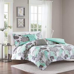 5 Piece Girls Mint Grey Floral Theme Duvet Cover Full Queen