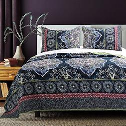 OSD 3pc Girls Navy Blue Medallion Quilt Full Queen Set, Boho