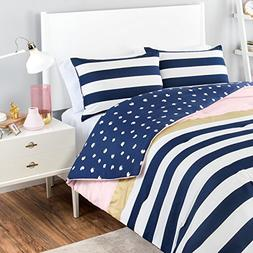MI 3 Piece Girls Navy Blue White Stripe Comforter Queen Set,