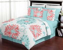 Sweet Jojo Girls Queen Full Size Flower Turquoise Coral Chea