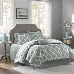 Gray 10 Piece Bed In a Bag Luxurious Comforter Set - SHEET S