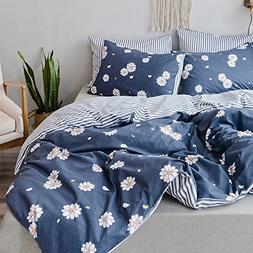 Gray Bedding Set Lovely Floral Printing and Striped Duvet Co