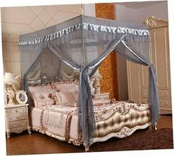 Gray Canopy Bed Curtains Mosquito Net Bed Drapes for Queen B