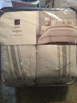 Lush Decor, Gray Comforter Farmhouse Stripe 3 Piece Reversib