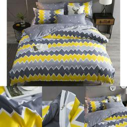 Gray Yellow Simple Duvet Cover Set Bedding Set for Kids Adul