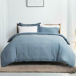 Bedsure Grayish Blue Duvet Cover Set Queen/Full Size Wrinkle