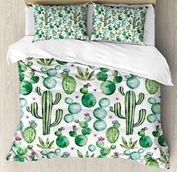 Ambesonne Green Duvet Cover Set, Mexican Texas Cactus Plants