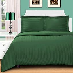 3 Piece Green Rugby Stripes Duvet Cover Full Queen Set, Styl