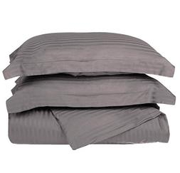 3 Piece Grey Rugby Stripes Duvet Cover Full Queen Set, Styli