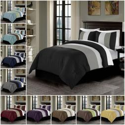 harper 3 piece luxury striped pleated bedding