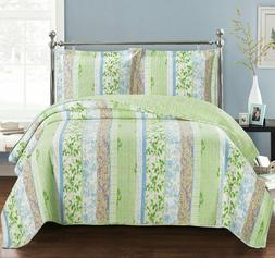 Hayley Oversized Printed Coverlets 3 Piece Spring Forest Bed