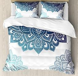 Ambesonne Henna Duvet Cover Set Queen Size, South Asian Mand