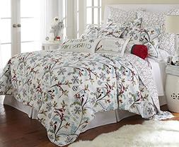 Levtex Holly Full/Queen Quilt Set, White/Red, Cotton Christm
