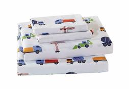 Home Collection Kids 3 Piece Twin Sheet Set Construction Veh