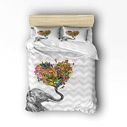 4 Pieces Home Comforter Bedding Set, Elephant Vintage Wild A
