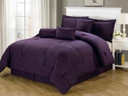 Chezmoi Collection Lex-Com-Purple 7-Piece Hotel Dobby Stripe