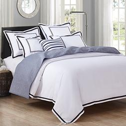 Hotel Luxury 3pc Duvet Cover Set- Elegant White/Black Trim H